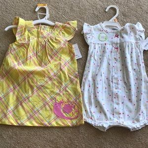 Carters 12 month baby romper and dress with shorts